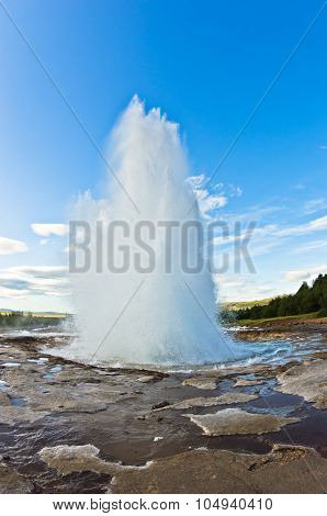 Eruption of geysir Strokkur at Haukadalur area