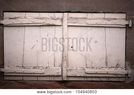 Isolated Retro Wooden Window Shutters