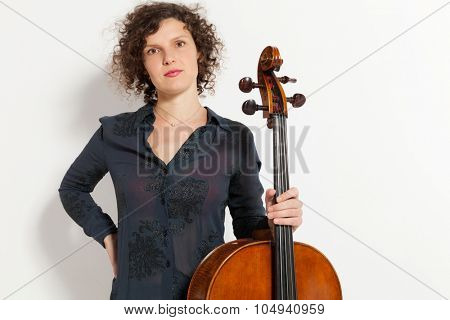 portrait of young woman with her cello