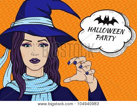 Vintage Vector Witch Girl In Hat With Message Halloween Party, Comic Style, Pop Art Witch
