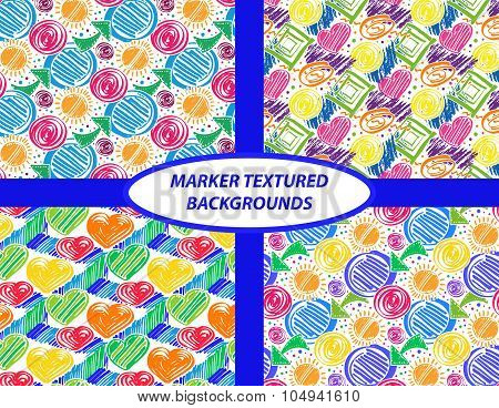 Vector colorful seamless pattern with marker texture on white background. Doodle marker patterns