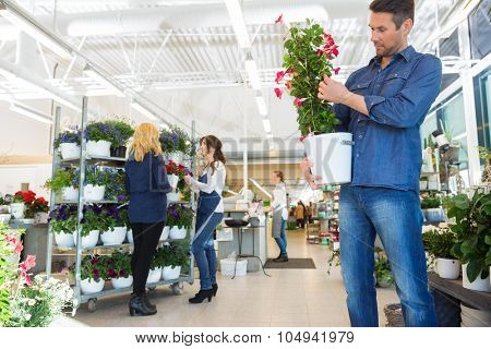 Man examining flower plant with salesgirl assisting customer in background at shop