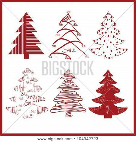 red decorative fir trees on a white background