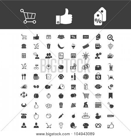 shopping, retail, supermarket, grocery store, sales icons