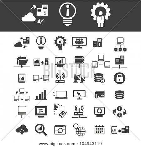 database, hosting, big data, cloud computing, network icons