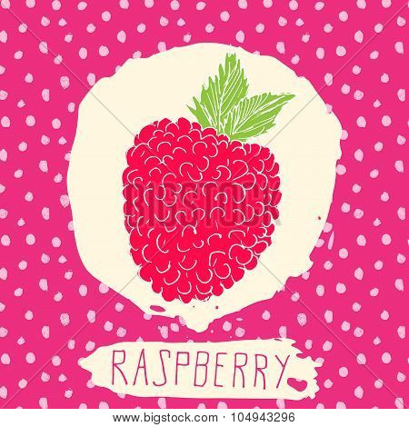 Raspberry Hand Drawn Sketched Fruit With Leaf On Background With Dots Pattern. Doodle Vector Raspber