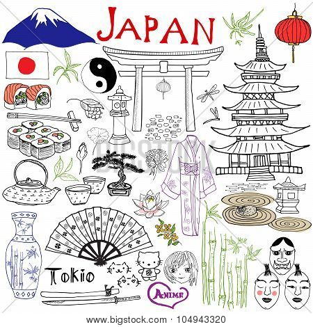 Japan Doodles Elements. Hand Drawn Set With Fujiyama Mountain, Shinto Gate, Japanese Food Sushi And