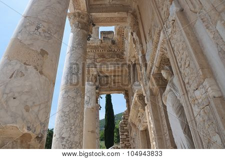 Detail Of The Library Of Celsus, Ephesus Ancient City, Selcuk, Turkey