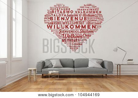 Welcome in many languages in heart shape as wall sticker in living room (3D Rendering)