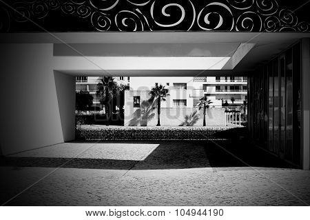 Black And White Square Buildings