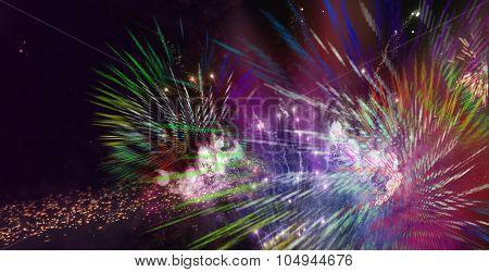 Bright Sparkling Multicolor Fireworks
