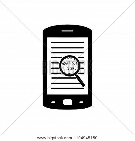Magnifying glass for text. Magnifier on the phone. The application for working with text