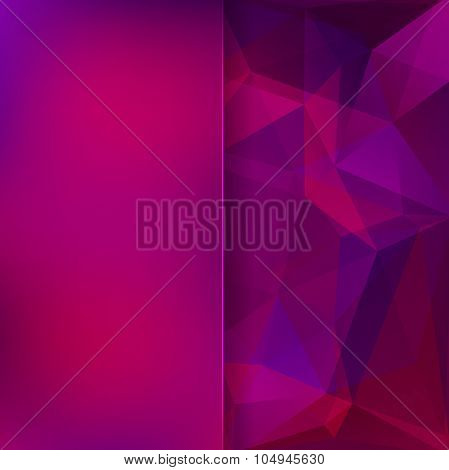 Abstract Background Consisting Of Pink, Purple Triangles And Matt Glass, Vector Illustration