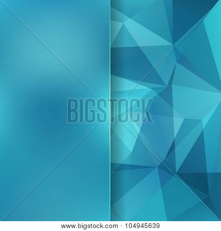 Abstract Background Consisting Of Blue Triangles And Matt Glass, Vector Illustration