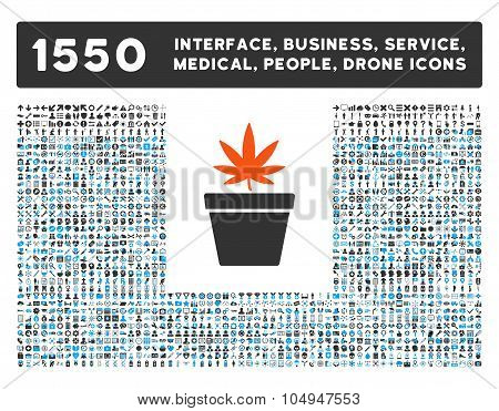 Cannabis Pot Icon and More Interface, Business, Medical, People, Awards Glyph Symbols