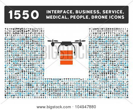 Cargo Drone Icon and More Interface, Business, Medical, People, Awards Glyph Symbols
