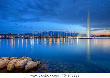 Geneva panorama with famous fountain, Switzerland, HDR