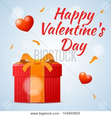 Red Gift On Valentines Day, Happy Valentine's Day Inscription For Design