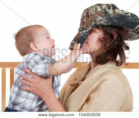 Young Mother Playing With Her Son