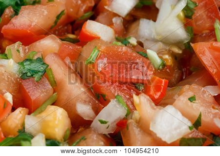 Close-up of the salsa pico de gallo