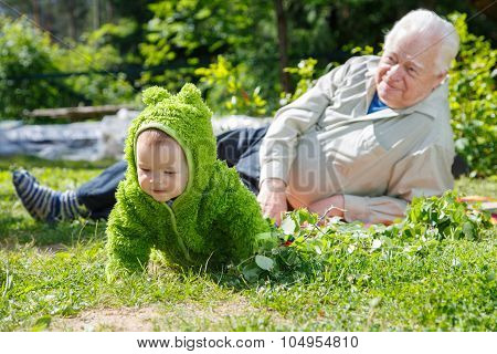 Senior Man And Baby On Nature