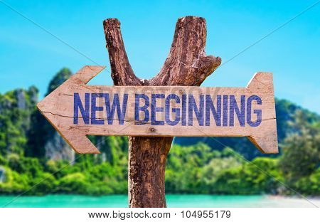 New Beginning arrow with beach background