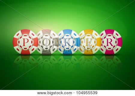 Casino chips with letters POKER