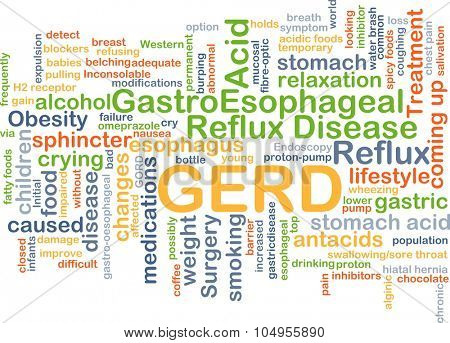 Background concept wordcloud illustration of GERD