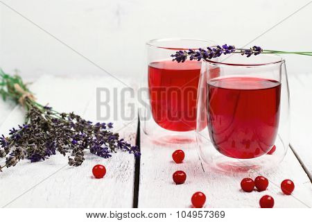 Cranberry (red Berries) Drink In Glass