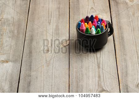 Crayons (pencils) On A Wooden Table