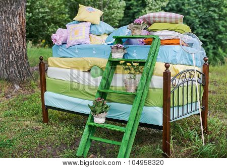 The Princess and the pea wedding decorations.
