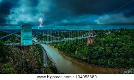 Clifton Bridge during storm