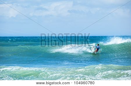 Kitesurfing background. Freestyle boarding on ocean waves