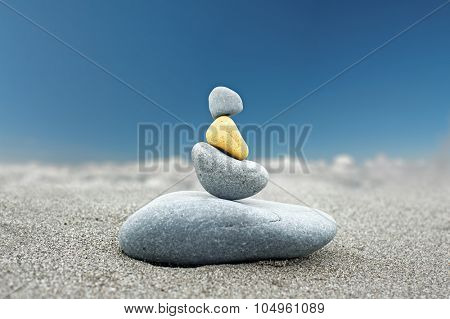 Stone art background of Buddhist rock tower