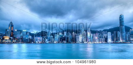Blue Hour Over Victoria Harbor, Hong Kong
