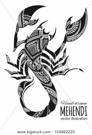Hand-drawn mehendi scorpion.  Ethnic african, indian, totem tatoo design.