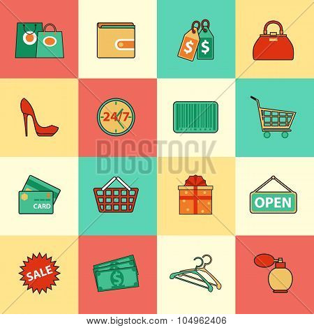 Set of shopping and sale line icons. Flat style design. Consumer items for discount offers, e-commer