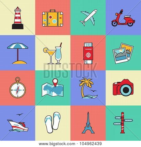 Set of travel and tourism line icons. Flat style design. Air travel, camping, water tourism and othe