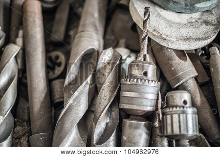 Set Of  Old Rusty Drill Bits Isolated In White.