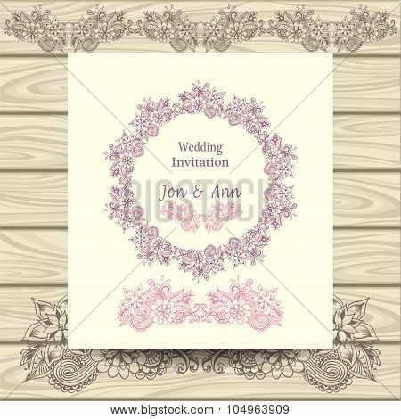Wedding invitation with doodle floral elements