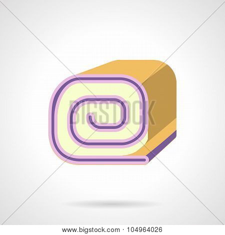 Biscuit roll flat color vector icon