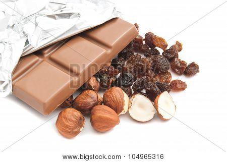 Some Hazelnuts, Raisins And Chocolate