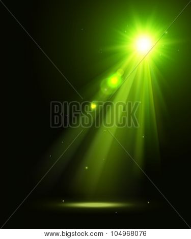 Abstract disco background with green spot lights.