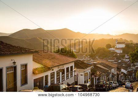 OURO PRETO, BRAZIL - CIRCA OCTOBER 2015: Colonial houses in Ouro Preto, Minas Gerais, Brazil