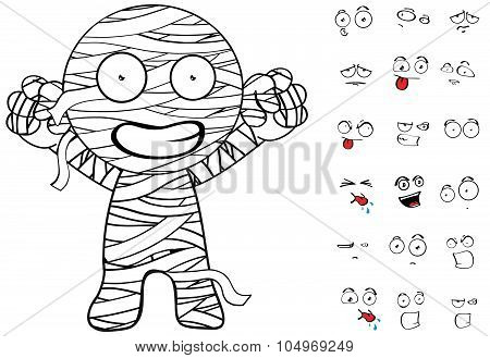 winner mummy cartoon emotions set