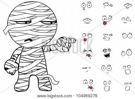 mummy cartoon emotions pack