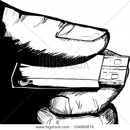 Holding Thumbdrive In Hand