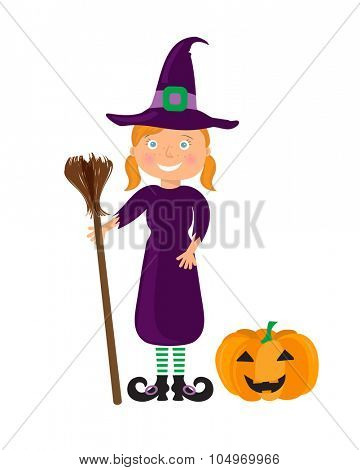 Cute cartoon girl in the Whitch Halloween costume with pumpkin. Smiling Girl with red hair, in whitch hat and dress with broom in hands.