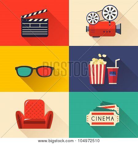 Modern Cinema Icons Set
