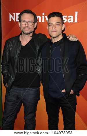 LOS ANGELES - AUG 12:  Christian Slater, Rami Malek at the NBCUniversal 2015 TCA Summer Press Tour at the Beverly Hilton Hotel on August 12, 2015 in Beverly Hills, CA